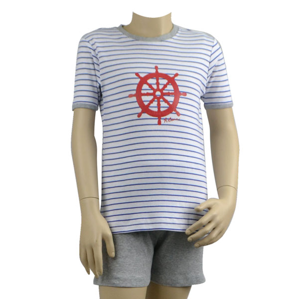 Blue Stripe Sailing Wheel Pjs