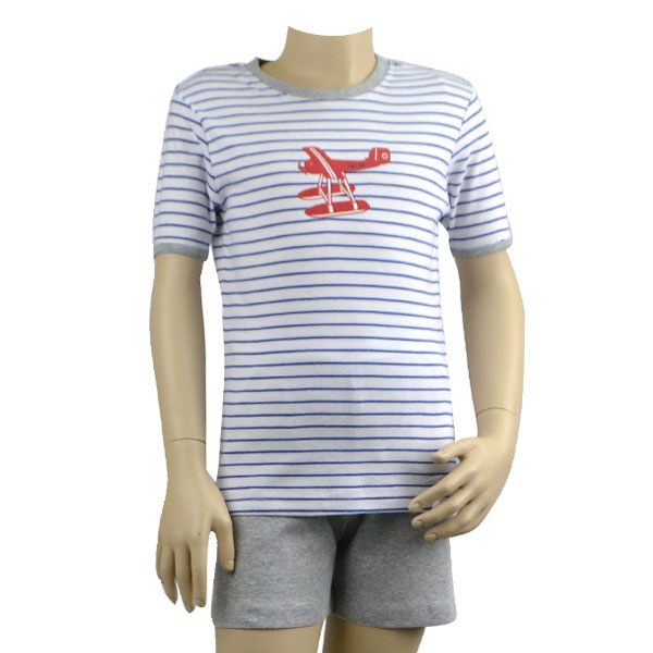 Blue Stripe Sea Plane Pjs