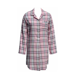 Pink Check Flannel Sleep Shirt