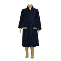 Navy Striped Trim Robe