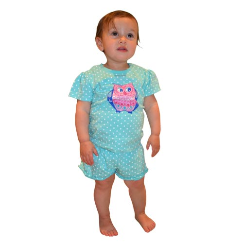 Aqua Owl Shorts Set